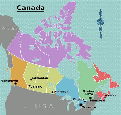 Landkarte Kanada (Regionen) : Weltkarte.com   Karten und