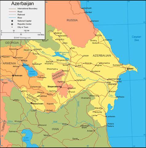 russia map azerbaijan asia maps
