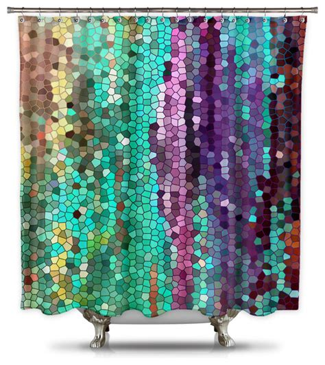 mosaic shower curtain catherine holcombe morning mosaic fabric shower curtain