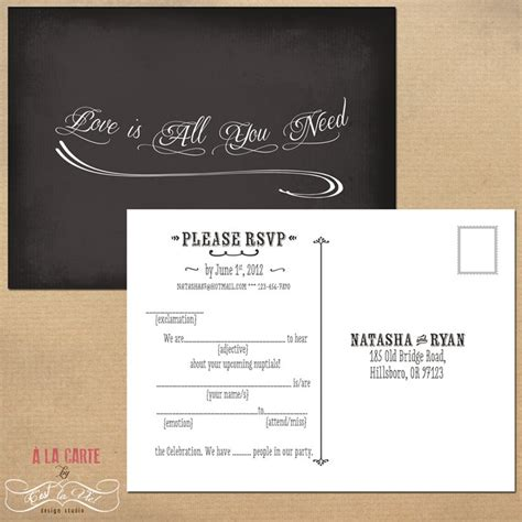 wedding rsvp cards postcard style mad lib style rsvp card chalkboard bbq couples