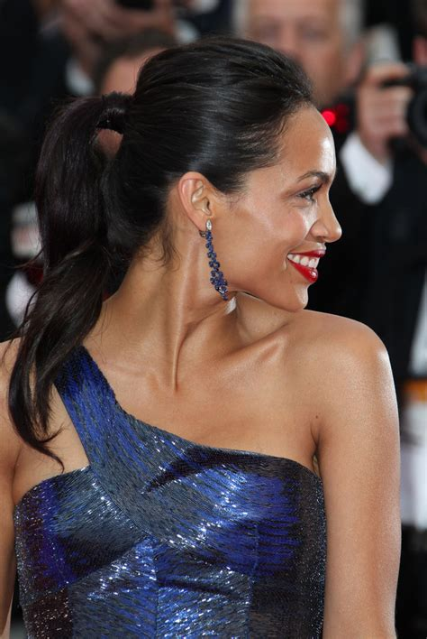 Runway To Carpet Rosario Dawsons Cannes Gown by Rosario Dawson Wears Sleek Ponytail To Cannes