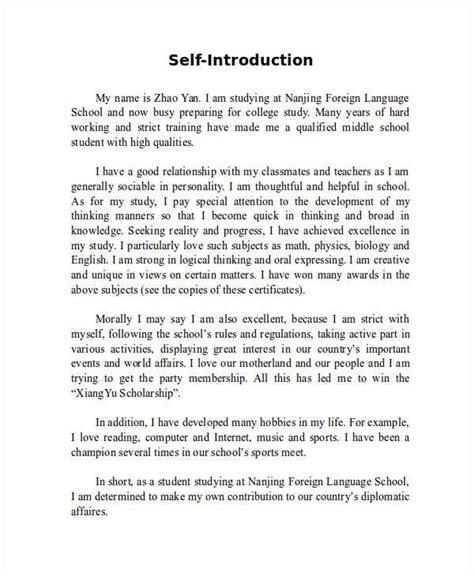 Essay On Myself For College Level by 7 Self Introduction Essay Exles Sles