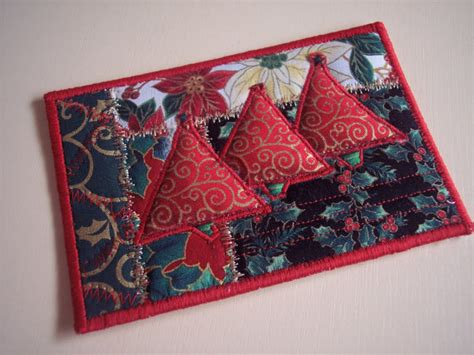 Patchwork Cards - card quilted fabric postcard by