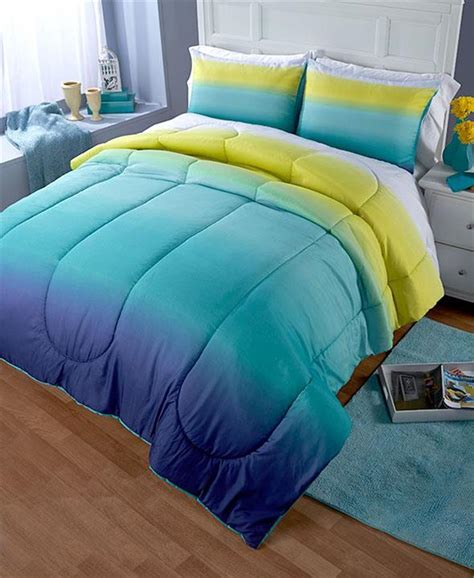 contemporary ombre printed turquoise or purple comforter