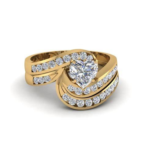 shaped twist channel set wedding ring sets