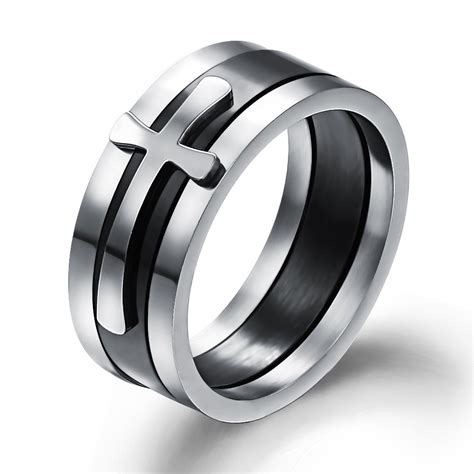 fashion bijoux promise ring titanium stainless steel cross