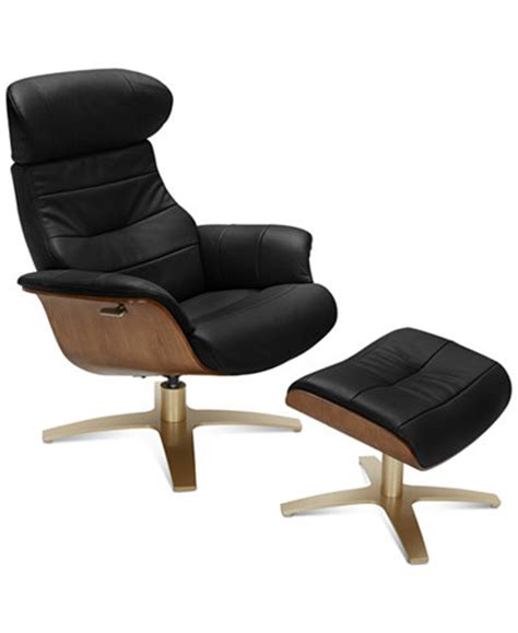 Annaldo Leather Swivel Chair Ottoman 2 Pc Set
