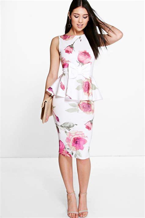 Nasjmi Flowery Peplum Maxi Dress boohoo womens julie floral bow detail peplum midi dress ebay