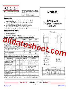 transistor mpsa06 datasheet mpsa06 ap datasheet pdf micro commercial components