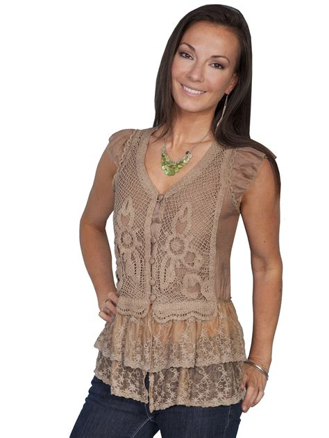 Wst 14197 Black Embroidered Blouse scully 174 brown knit lace cap sleeve western blouse