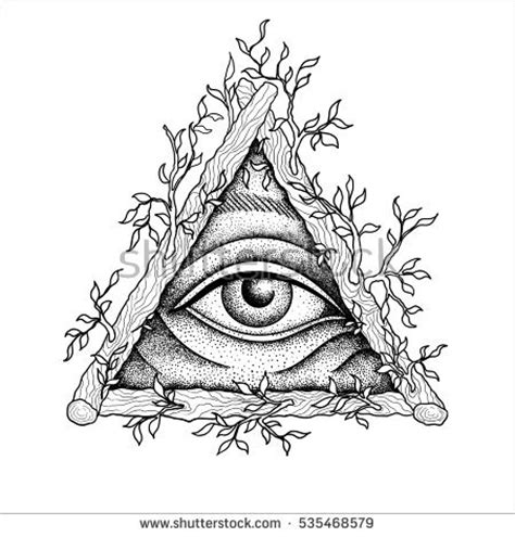 illuminati triangle eye all seeing eye pyramid symbol engraving stock vector