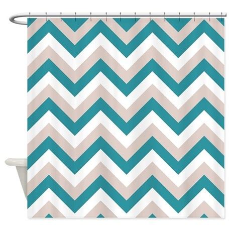 Turquoise Chevron Curtains Brown And Medium Turquoise Chevron Shower Curtain By Retroculture