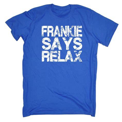 kaos123 tshirtsays 1 frankie says relax distressed white logo mens t shirt