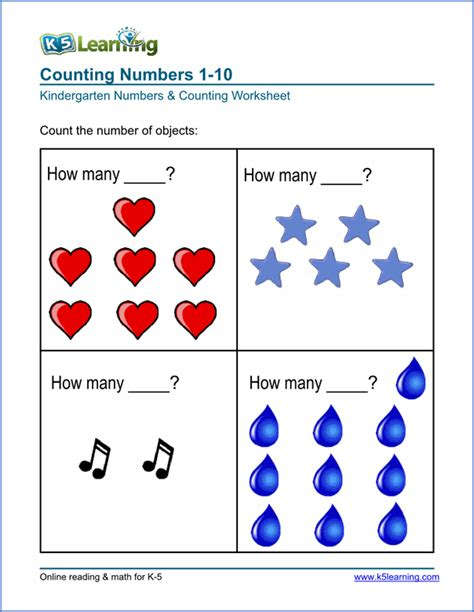 Worksheets For Students Learning by Free Preschool Kindergarten Numbers Counting