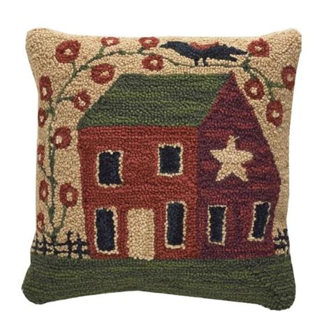 "Red Primitive House Hooked Pillow 18"" Park Designs"