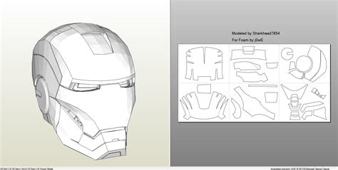 ironman helmet template foamcraft pdo file template for iron 4 6