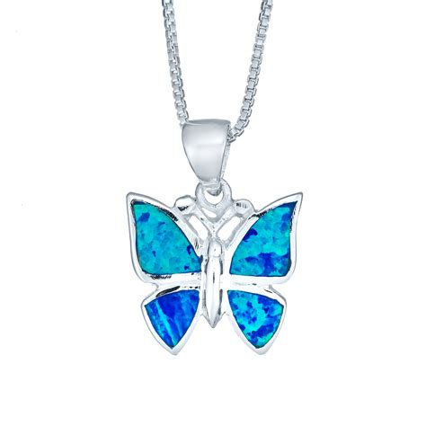 blue opal necklace created blue opal butterfly necklace opn 6094
