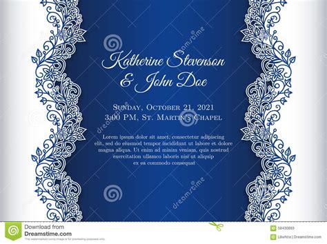 romantic wedding invitation  blue background  stock