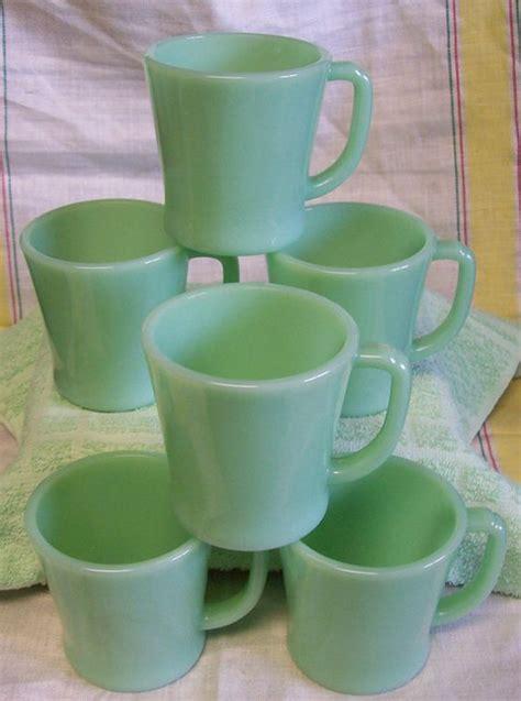 Handle Green Coffee vintage king jadite jadeite green glass restaurant ware d handle coffee mug set of 6
