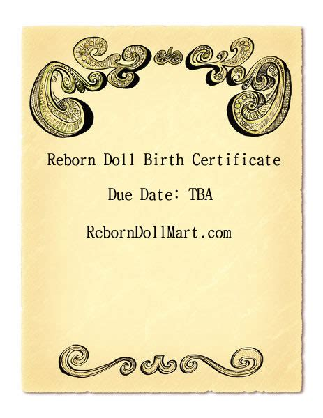 Reborn Birth Certificate Template by How To Create A Reborn Doll Birth Certificate