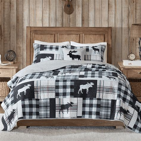 moose grid oversized  piece quilt set kingcal king