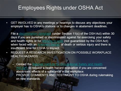 section 11 c of the osha act creating a safety program for your small business ppt