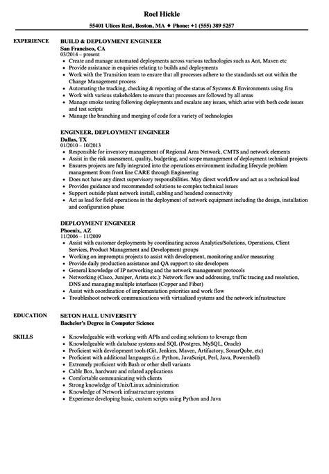 deployment engineer resume sles velvet