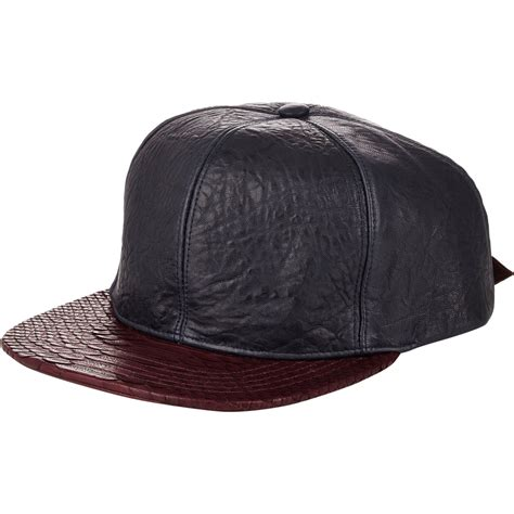 Leather Baseball Cap lyst just don s leather python baseball cap in