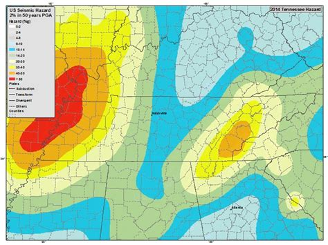 updated earthquake map shakes up risk zones image gallery tennessee earthquake 2014
