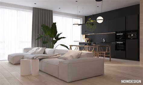 minimalist interior design  green plant accents