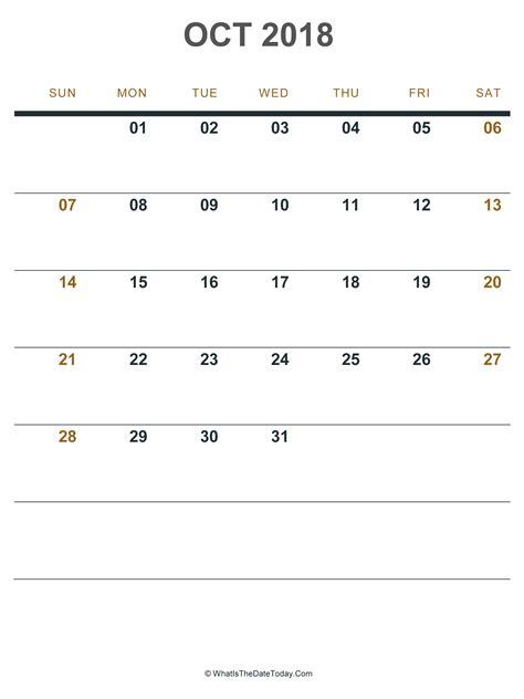 october  calendar portrait