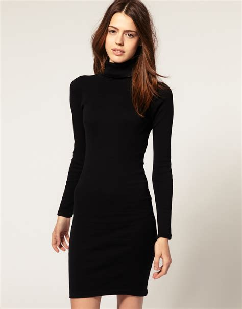 Dress For Withamerican Apparel american apparel polo neck dress in black lyst