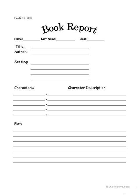 bookreport worksheet - Free ESL printable worksheets made