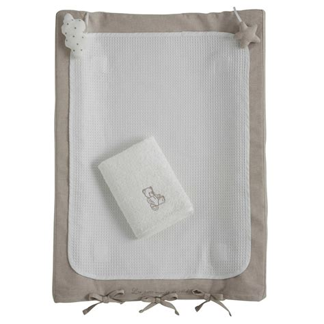 ourson cotton baby changing mat in white 52 x 70cm