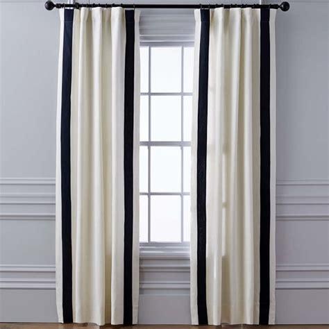 williams sonoma curtains stripe edge linen drape rod pocket navy williams sonoma