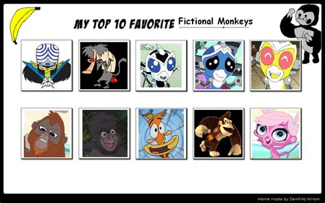 7 Of My Favorite Fictional Characters by My Top 10 Favorite Monkeys 02 By Sithviremaster27 On