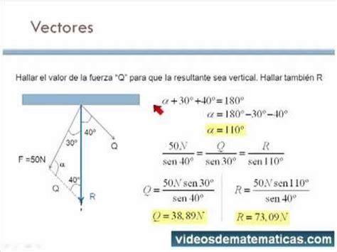ley de cosenos vectores vectores con ley de los senos videosdematematicas com