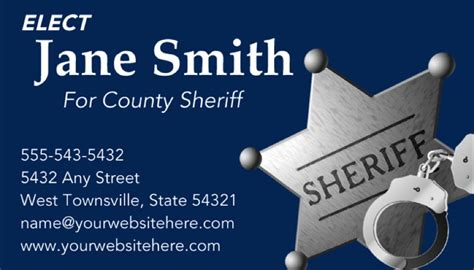 sheriff business card template sheriff candidate print templates blue theme