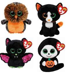 ty 6 halloween beanie boos boo plush teddy soft toy owl ghost bat ebay