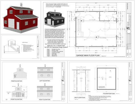 Cabin Garage Plans by G503 26 X 30 X 10 Monitor Barn Sds Plans