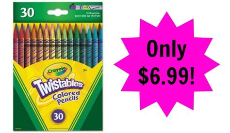 crayola 30 count twistable colored pencils crayola twistable colored pencils 30 count pack only 6 99