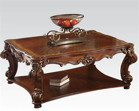 traditional coffee table traditional square coffee table vendome cherry by acme ac82002