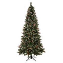 shop vickerman 7 ft indoor pine pre lit snow tip pine and berry artificial christmas tree