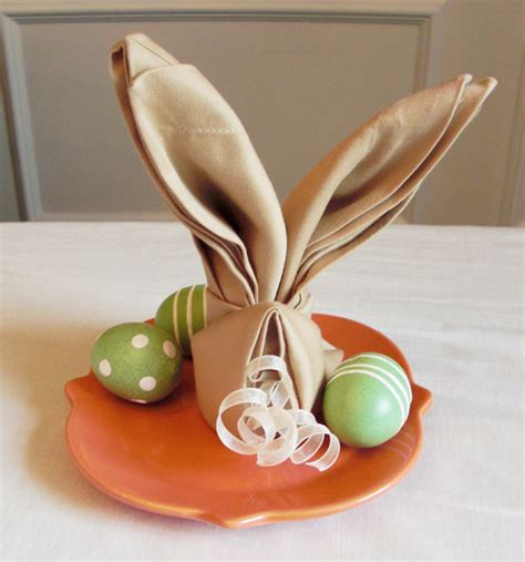 Easter Paper Napkin Folding - how to fold a napkin into a bunny easter idea
