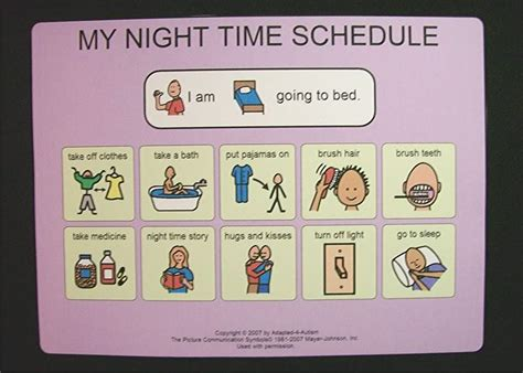 printable daily schedule cards bed night time schedule picture card pecs autism picture