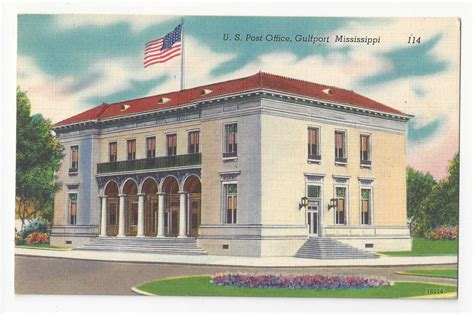 sporting goods gulfport ms ms gulfport us post office vtg linen postcard mississippi