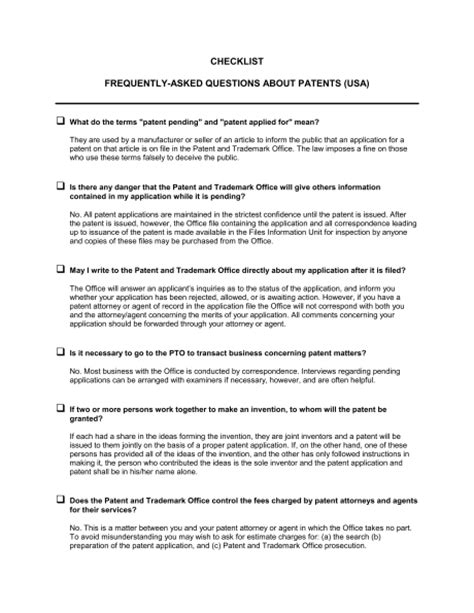 checklist faq about patents template sle form