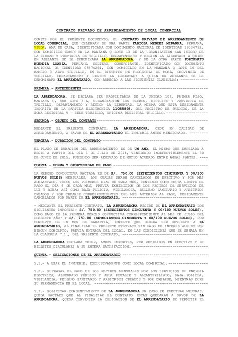 contrato de alquiler peru 2016 modelo de contrato de alquiler de local comercial