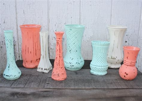 coral color home decor set of 8 painted glass vases coral aqua and antique