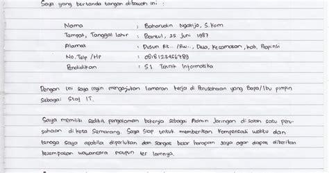 contoh surat lamaran tulis tangan 2014 berbagi informasi